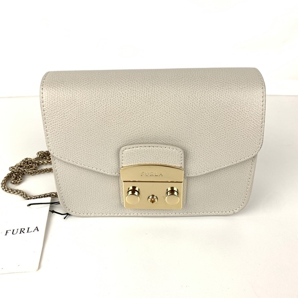 4399436e7c3e New Furla Metropolis Gray Mini Italian Crossbody